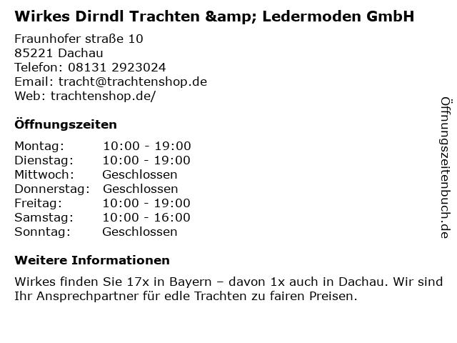 Wirkes Dirndl Trachten & Ledermoden GmbH in Dachau: Adresse und Öffnungszeiten