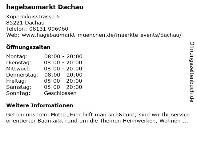hagebaumarkt Dachau in Dachau: Adresse und Öffnungszeiten