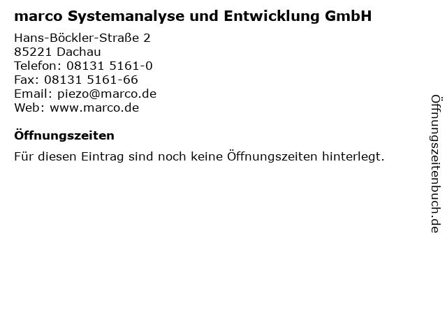 marco Systemanalyse und Entwicklung GmbH in Dachau: Adresse und Öffnungszeiten