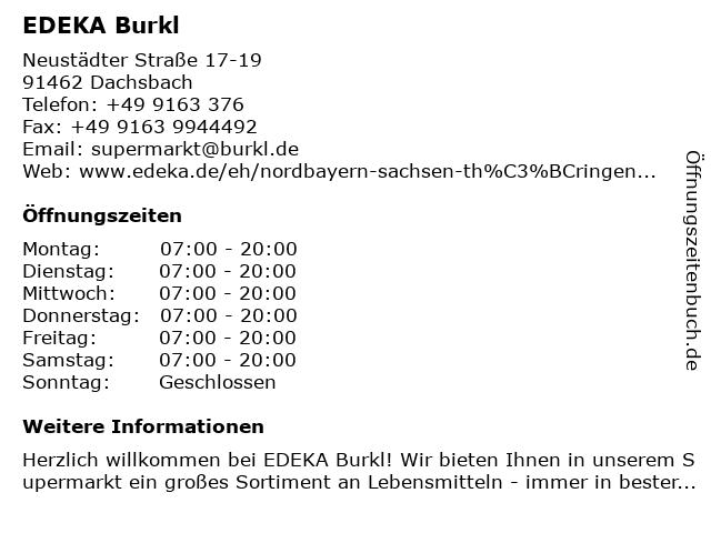EDEKA Burkl in Dachsbach: Adresse und Öffnungszeiten
