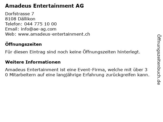 Amadeus Entertainment AG in Dällikon: Adresse und Öffnungszeiten