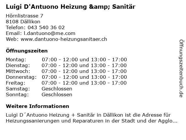 Luigi D'Antuono Heizung & Sanitär in Dällikon: Adresse und Öffnungszeiten