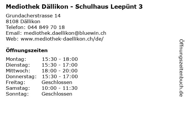 Mediothek Dällikon - Schulhaus Leepünt 3 in Dällikon: Adresse und Öffnungszeiten