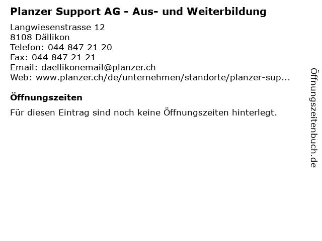 Planzer Support AG - Aus- und Weiterbildung in Dällikon: Adresse und Öffnungszeiten