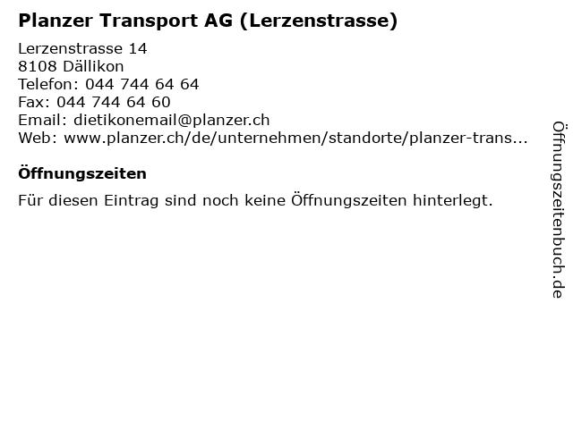 Planzer Transport AG (Lerzenstrasse) in Dällikon: Adresse und Öffnungszeiten