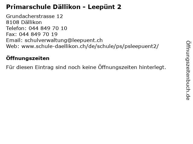 Primarschule Dällikon - Leepünt 2 in Dällikon: Adresse und Öffnungszeiten