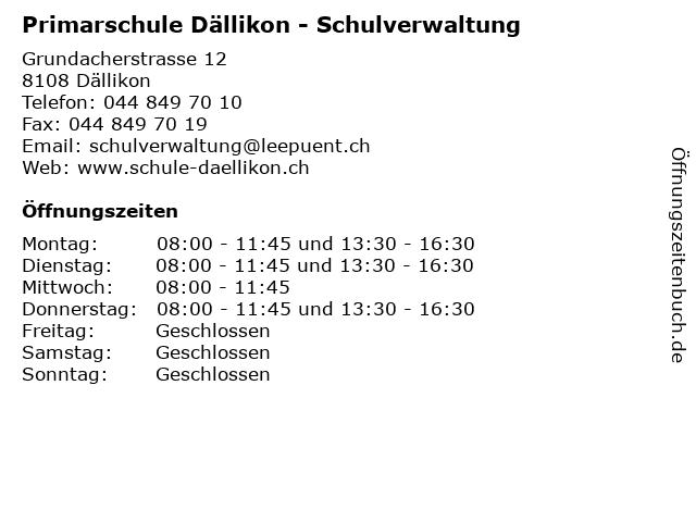 Primarschule Dällikon - Schulverwaltung in Dällikon: Adresse und Öffnungszeiten