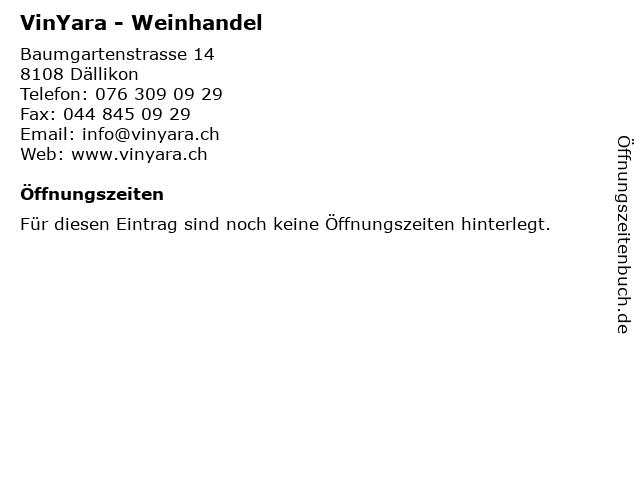 VinYara - Weinhandel in Dällikon: Adresse und Öffnungszeiten