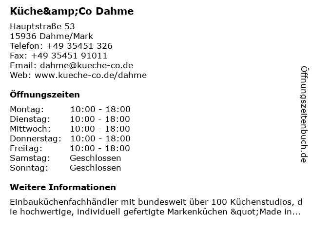 Küche&Co Dahme in Dahme/Mark: Adresse und Öffnungszeiten
