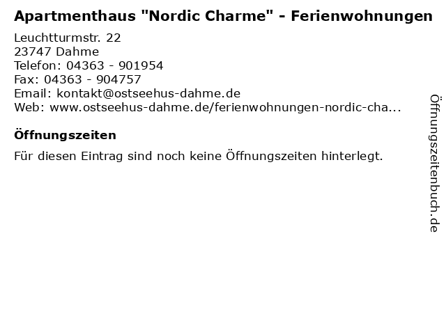 """Apartmenthaus """"Nordic Charme"""" - Ferienwohnungen in Dahme: Adresse und Öffnungszeiten"""