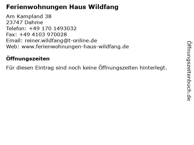 Ferienwohnungen Haus Wildfang in Dahme: Adresse und Öffnungszeiten