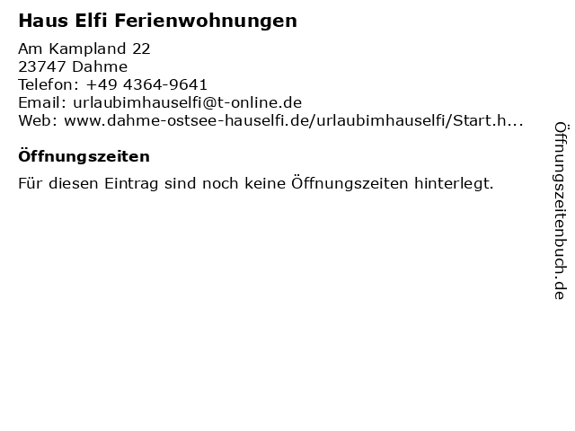 Haus Elfi Ferienwohnungen in Dahme: Adresse und Öffnungszeiten