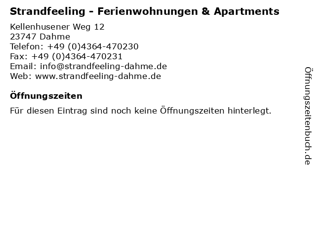 Strandfeeling - Ferienwohnungen & Apartments in Dahme: Adresse und Öffnungszeiten