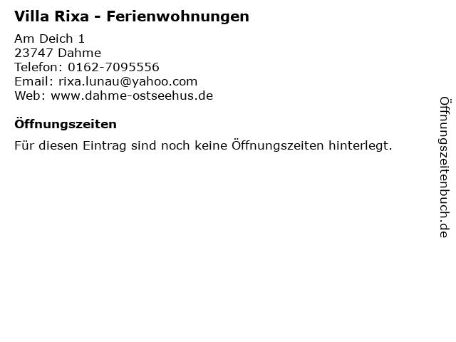 Villa Rixa - Ferienwohnungen in Dahme: Adresse und Öffnungszeiten