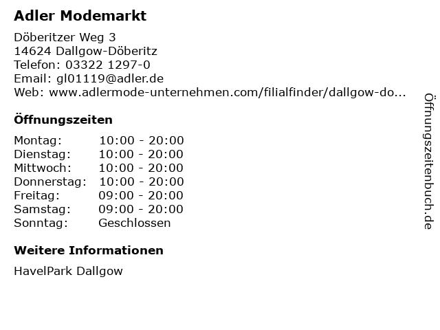 Adler Modemärkte AG in Dallgow-Döberitz: Adresse und Öffnungszeiten