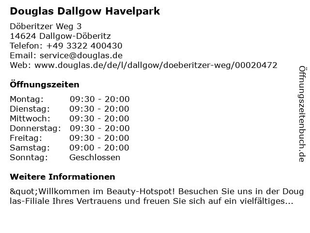 Parfümerie Douglas Dallgow-Döberitz in Dallgow-Döberitz: Adresse und Öffnungszeiten