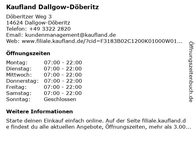 Kaufland Dallgow-Döberitz in Dallgow-Döberitz: Adresse und Öffnungszeiten