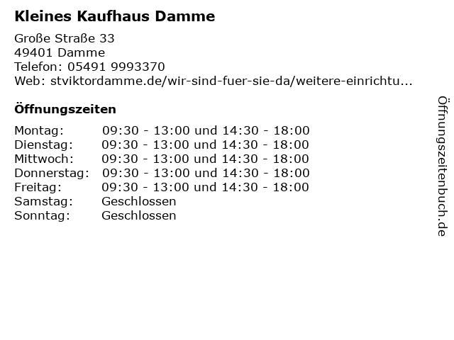 Kleines Kaufhaus Damme in Damme: Adresse und Öffnungszeiten