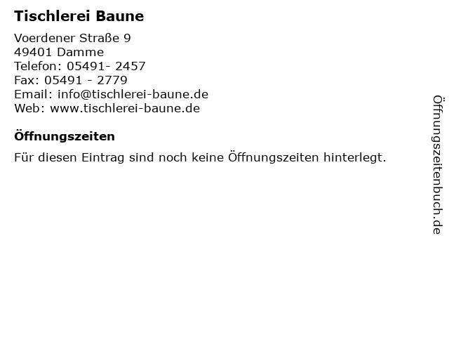 Tischlerei Baune in Damme: Adresse und Öffnungszeiten