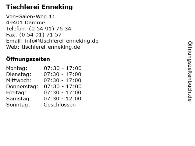 Tischlerei Enneking in Damme: Adresse und Öffnungszeiten