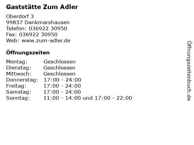 Gaststätte Zum Adler in Dankmarshausen: Adresse und Öffnungszeiten