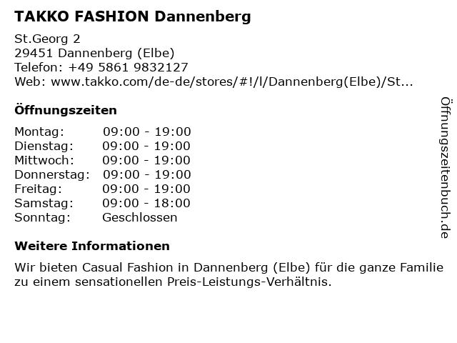Takko Fashion in Dannenberg: Adresse und Öffnungszeiten