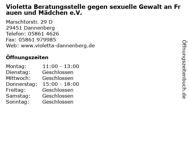 Violetta Beratungsstelle gegen sexuelle Gewalt an Frauen und Mädchen e.V. in Dannenberg: Adresse und Öffnungszeiten