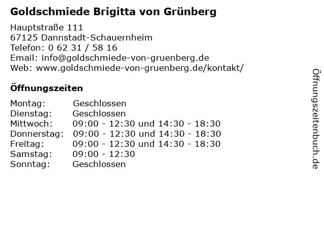 Goldschmiede Brigitta von Grünberg in Dannstadt-Schauernheim: Adresse und Öffnungszeiten