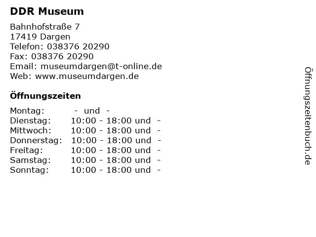 ᐅ öffnungszeiten Ddr Museum Bahnhofstraße 7 In Dargen