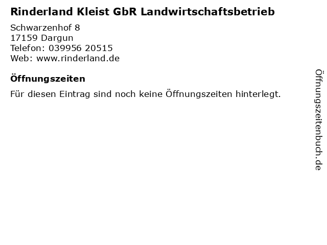 Rinderland Kleist GbR Landwirtschaftsbetrieb in Dargun: Adresse und Öffnungszeiten