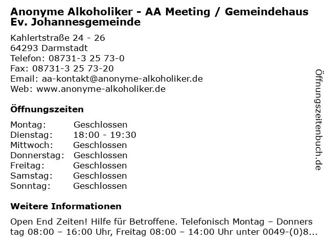 Anonyme Alkoholiker - AA Meeting / Gemeindehaus Ev. Johannesgemeinde in Darmstadt: Adresse und Öffnungszeiten