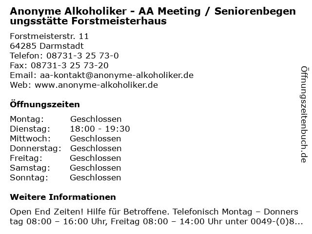 Anonyme Alkoholiker - AA Meeting / Seniorenbegenungsstätte Forstmeisterhaus in Darmstadt: Adresse und Öffnungszeiten
