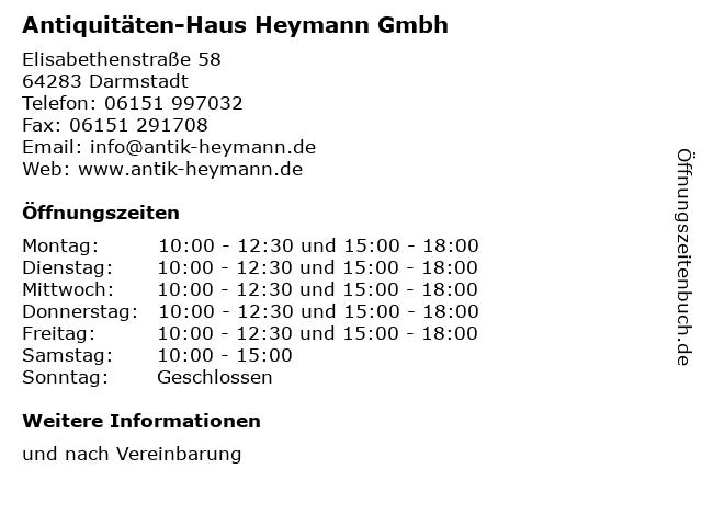 ᐅ Offnungszeiten Antiquitaten Haus Heymann Gmbh