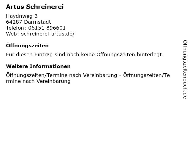 Artus Schreinerei in Darmstadt: Adresse und Öffnungszeiten