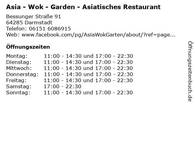 ᐅ Offnungszeiten Asia Wok Garden Asiatisches Restaurant