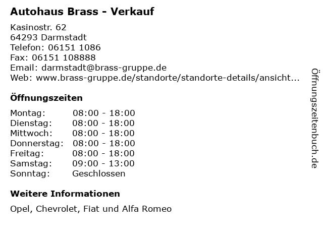 """ᐅ Öffnungszeiten """"autohaus brass - verkauf""""   kasinostr. 62 in"""