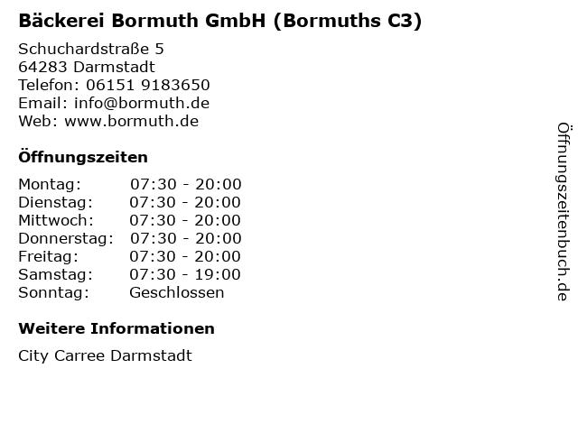 Bäckerei Bormuth GmbH (Bormuths C3) in Darmstadt: Adresse und Öffnungszeiten