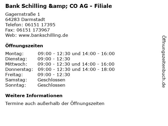 Bank Schilling & CO AG - Filiale in Darmstadt: Adresse und Öffnungszeiten