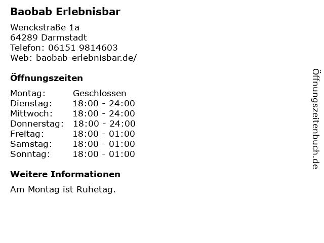 Baobab Erlebnisbar in Darmstadt: Adresse und Öffnungszeiten