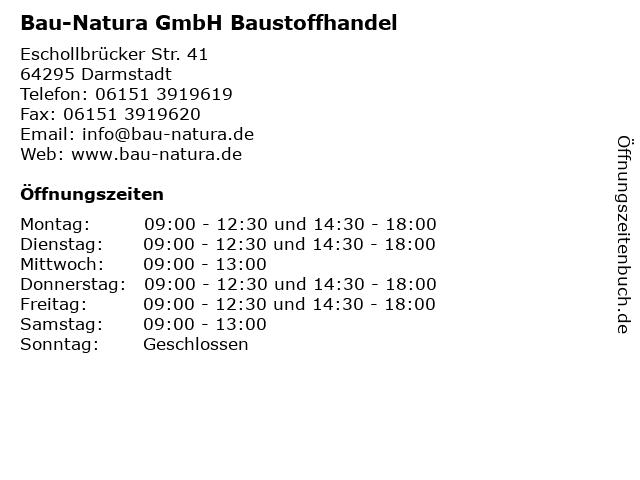 Bau-Natura GmbH Baustoffhandel in Darmstadt: Adresse und Öffnungszeiten