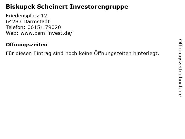 Biskupek Scheinert Investorengruppe in Darmstadt: Adresse und Öffnungszeiten
