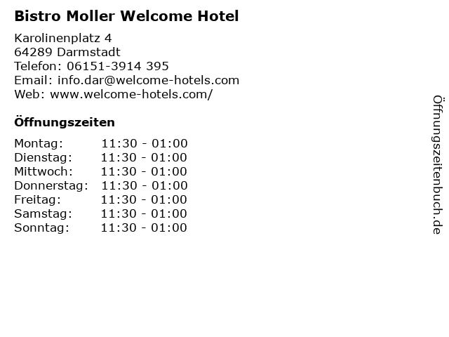 Bistro Moller Welcome Hotel in Darmstadt: Adresse und Öffnungszeiten