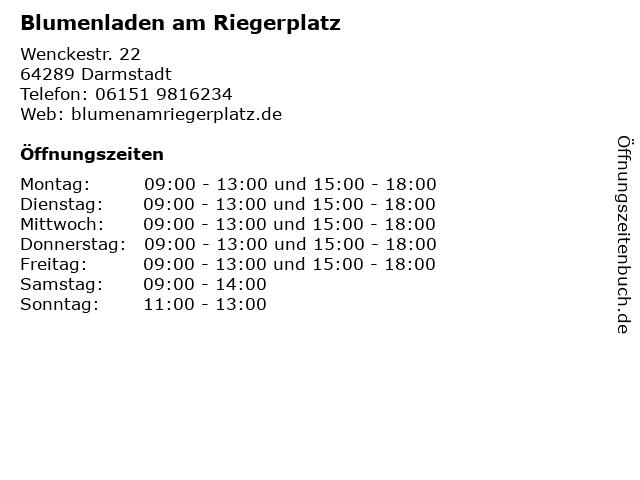 Blumenladen am Riegerplatz in Darmstadt: Adresse und Öffnungszeiten