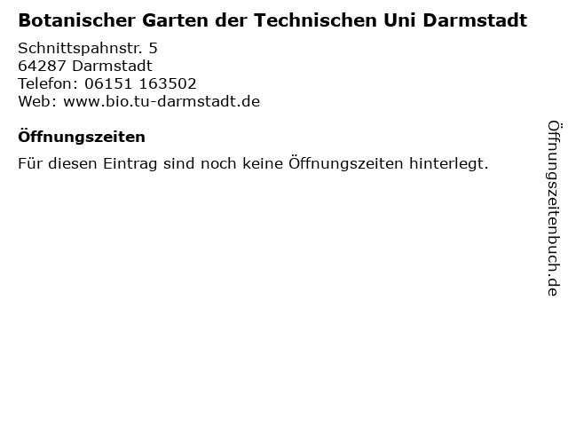 Botanischer Garten der Technischen Uni Darmstadt in Darmstadt: Adresse und Öffnungszeiten