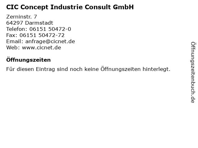 CIC Concept Industrie Consult GmbH in Darmstadt: Adresse und Öffnungszeiten