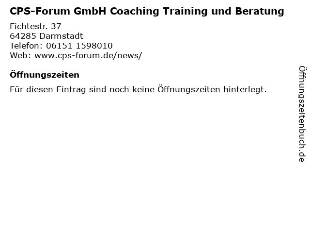 CPS-Forum GmbH Coaching Training und Beratung in Darmstadt: Adresse und Öffnungszeiten