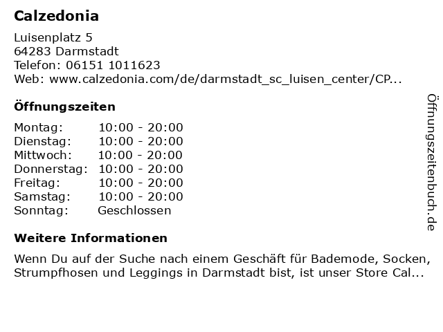 Calzedonia Germany GmbH in Darmstadt: Adresse und Öffnungszeiten