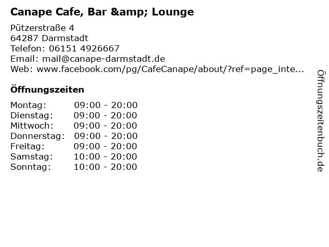 Canape Cafe, Bar & Lounge in Darmstadt: Adresse und Öffnungszeiten