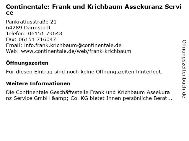 Continentale: Frank und Krichbaum Assekuranz Service in Darmstadt: Adresse und Öffnungszeiten