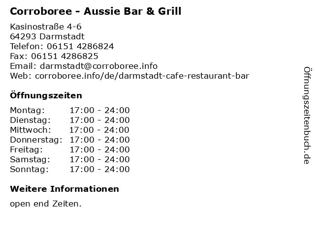 Corroboree - Aussie Bar & Grill in Darmstadt: Adresse und Öffnungszeiten
